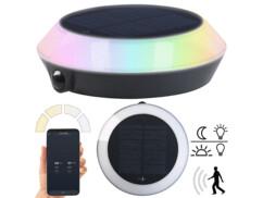 Lampe solaire d'extérieur connectée avec LED RVB CCT et détecteur de mouvement