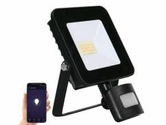 Projecteur LED connecté d'extérieur avec une puissance de 20 watts et une luminosité de 1600 lumens.