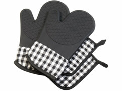Pack comprenant 2 gants et 2 maniques pour sortir les plats du four sans se brûler.