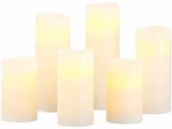 Pack de 6 bougies à LED en 4 tailles différentes avec structure en cire véritable.