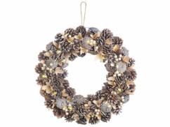 Couronne de l'Avent de 44 centimètres de diamètres avec pommes de pin et reflets beiges.