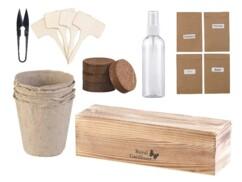 Set de culture pour plantes aromatiques avec basilic, origan, thym et romarin.