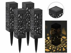 4 lanternes décoratives solaires à LED blanc chaud