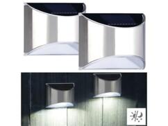 2 appliques murales solaires à LED en acier inoxydable WL-135.solar