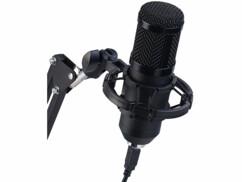 Microphone à condensateur USB professionnel avec support articulé
