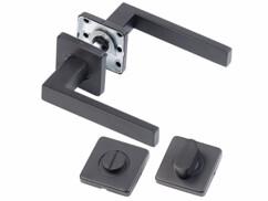 Deux poignées de porte avec rosettes en acier inoxudable noir mate pour porte de salle de bain et WC.
