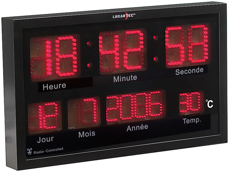 horloge digitale murale radio pilot e led rouges avec thermom tre. Black Bedroom Furniture Sets. Home Design Ideas