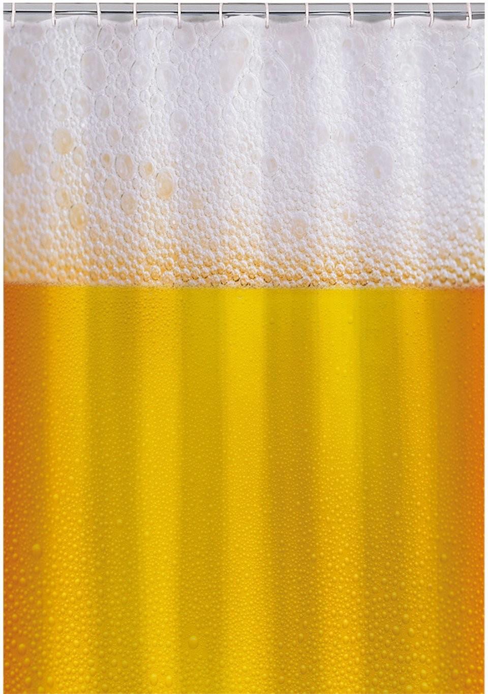 Rideau de douche 180 cm fun avec motifs bi re carte ou femme - Rideau 160 de large ...
