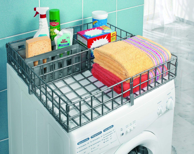 Rangement Machine À Laver panier en plastique 3 compartiments pour machine à laver