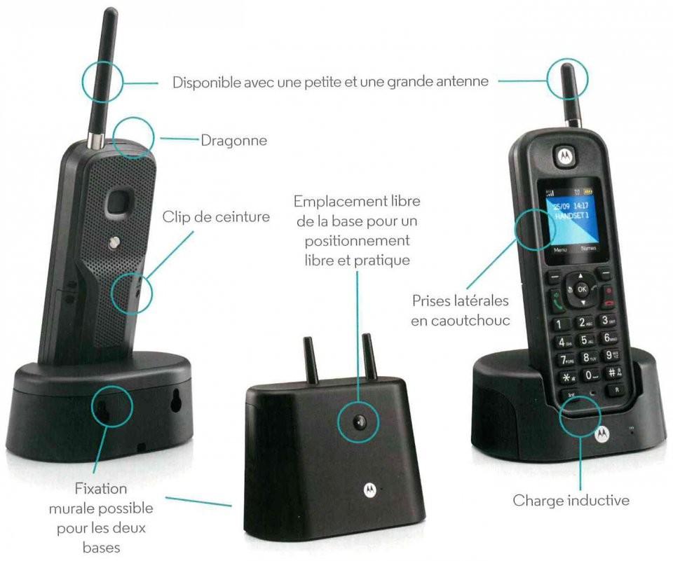 T l phone fixe sans fil tr s longue port e motorola o201 - Meilleur routeur sans fil longue portee ...