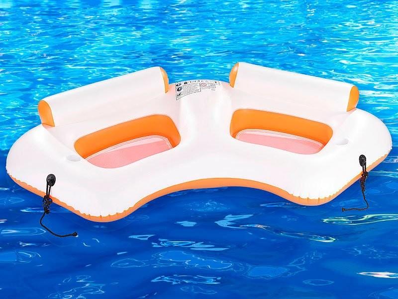 Fauteil gonflable de piscine pour 2 personnes avec porte for Piscine gonflable rectangulaire adulte