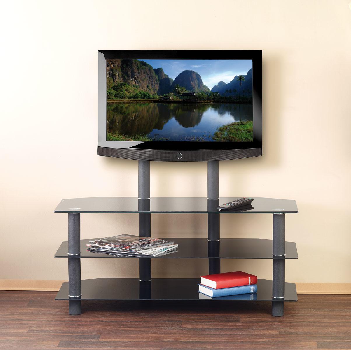 Meuble tv avec vesa et triple tablette en verre noir meuble tv - Meuble pour ecran plat ...
