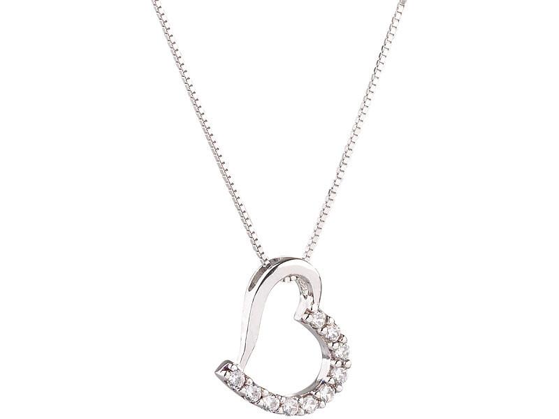 Petit Cha/îne avec pendentif en forme de c/œur avec diamant rouge argent 925 D for Diamond
