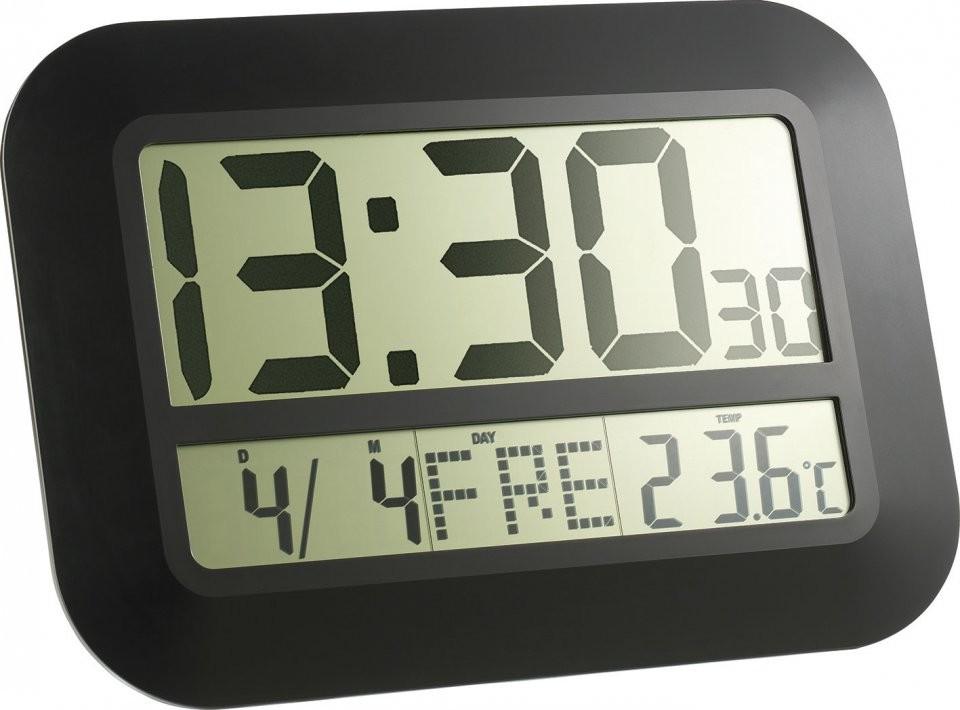 Horloge digitale radiopilotée avec écran lcd et grands chiffres ...