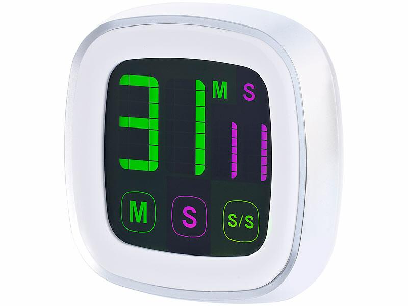 minuteur digital de cuisine avec écran tactile et support aimanté