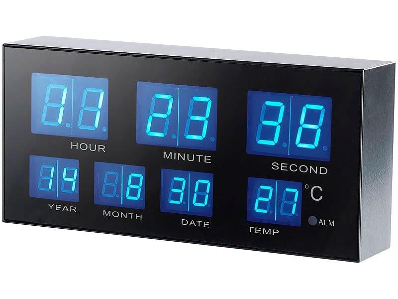 Horloge digitale led avec r veil design 39 a roport 39 led bleue - Horloge orium led bleue ...