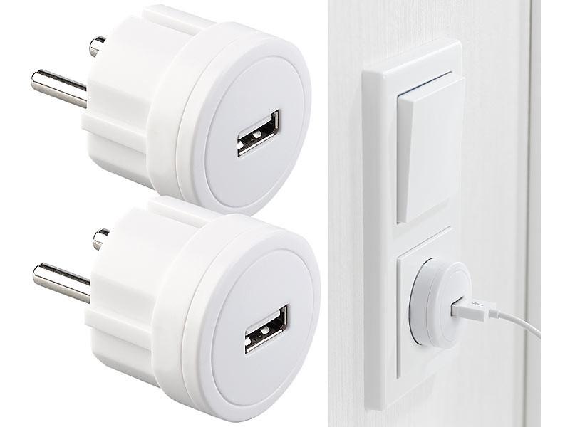 2 adaptateurs secteur USB ultra compacts, 2,1 A 10,5 W Ø 39 mm