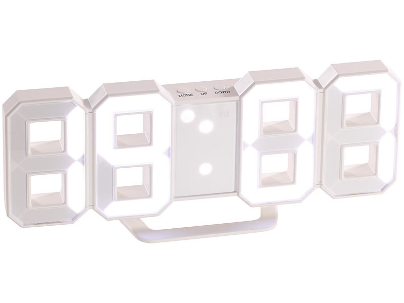 horloge lumineuse design avec grands chiffres led lunartec. Black Bedroom Furniture Sets. Home Design Ideas