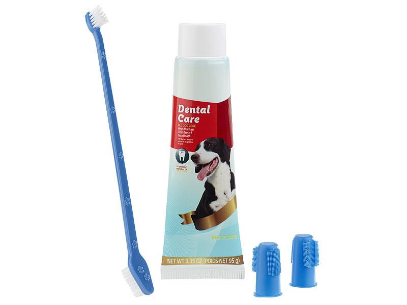 Kit hygiène dentaire pour Chien avec Dentifrice et Brosses | Pearl.fr
