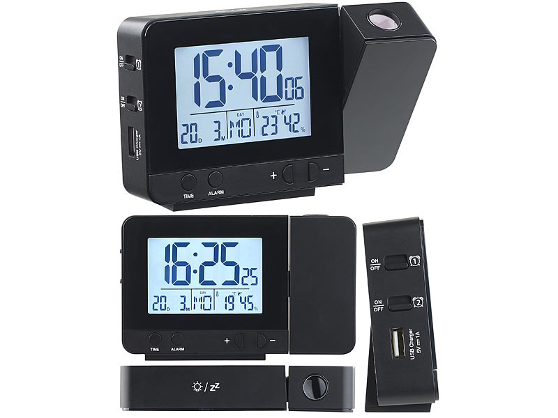 R/éveil /à projection radio-pilot/é avec chargement USB DAC-700.beam