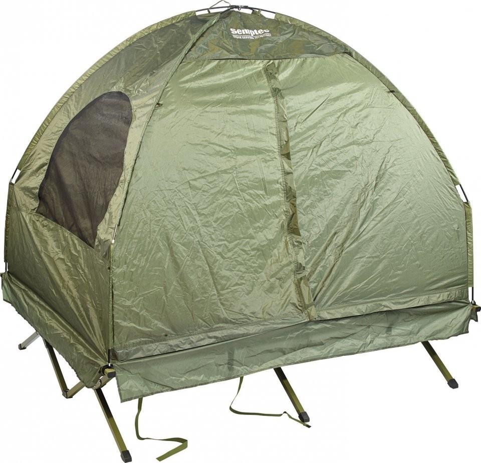 tente sur lev e 2 personnes avec lit de camp matelas et sacs. Black Bedroom Furniture Sets. Home Design Ideas