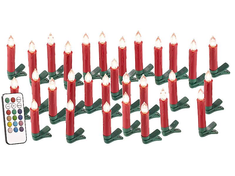 pack de bougies led pile avec clips pour sapin de no l. Black Bedroom Furniture Sets. Home Design Ideas