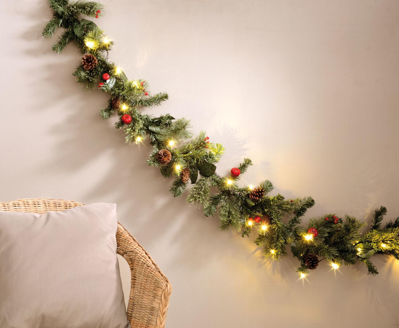 Deco De Noel Lumineuse Pour Fenetre guirlande de sapin décorative 180 cm avec véritables pommes de pin -  lumineux