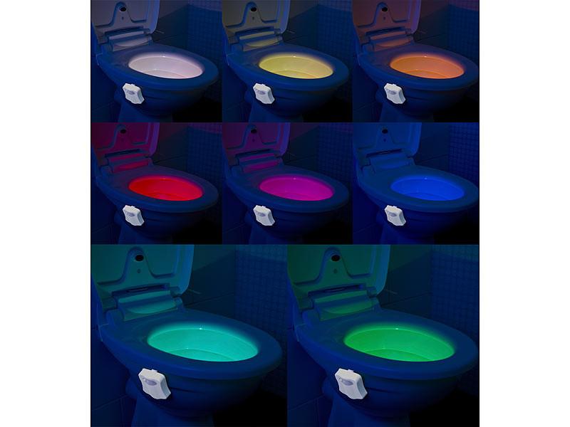 ✓ TOILETTES VEILLEUSE LAMPE LED 8 COULEURS CAPTEUR MOUVEMENT AUTO WC LUMIÈRE