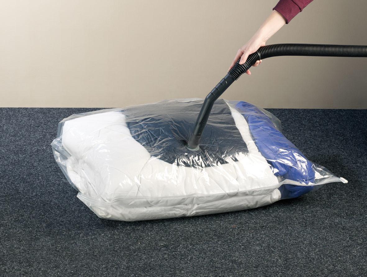 sac de rangement textile sous vide avec housse 48 l en intiss. Black Bedroom Furniture Sets. Home Design Ideas