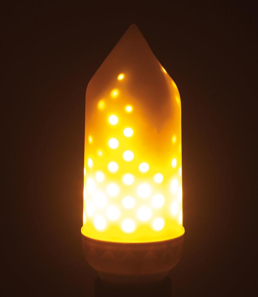 ampoule led cylindrique avec effet flamme vacillante e27