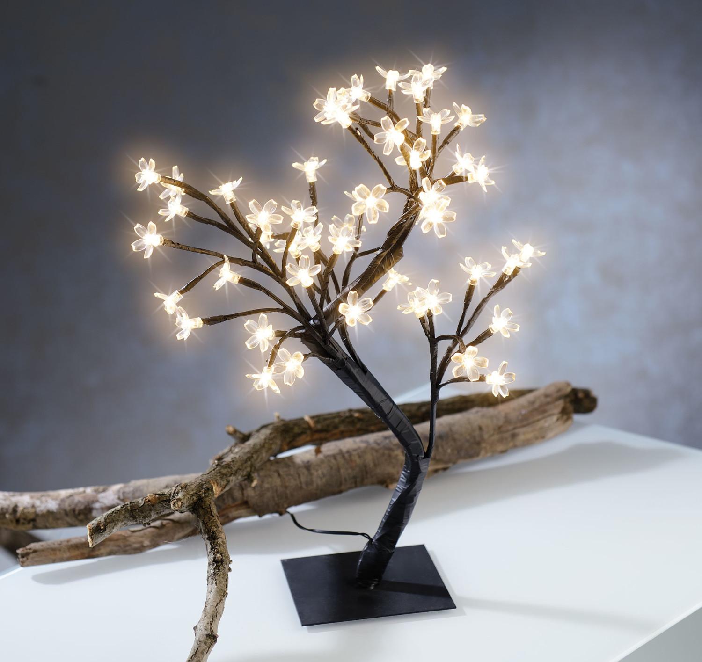 arbre lumineux led avec 48 fleurs et socle 45 cm. Black Bedroom Furniture Sets. Home Design Ideas