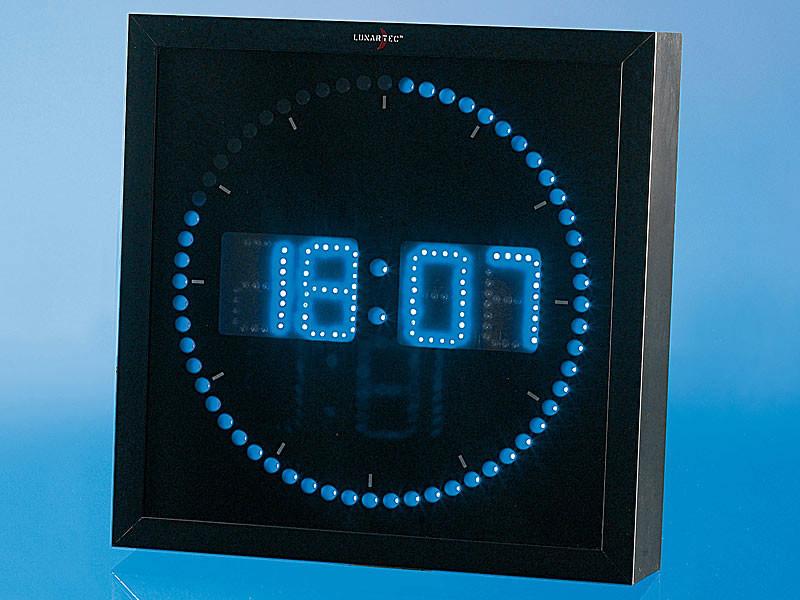 Horloge murale avec chiffre et secondes led rouge ou bleu - Horloge murale led bleue ...