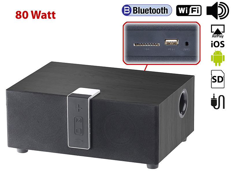 haut parleur multiroom bluetooth wifi airplay 80 w avec. Black Bedroom Furniture Sets. Home Design Ideas